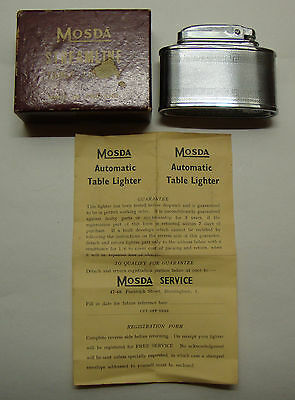 Early 20th century boxed unused with instructions Mosda streamline table lighter