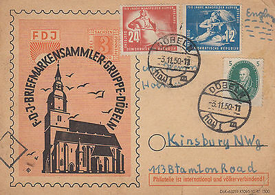 DDR : 1950 Mansfeld Copper Mine set SG E30/1 on philatelic card to UK