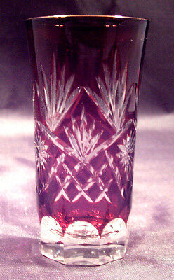 1 Ruby Bohemian cut to clear cut glass cordial