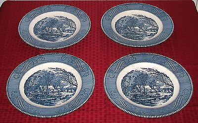 "4 Early Royal China USA Currier & Ives Blue 10"" Old Grist Mill Dinner Plates VGD"