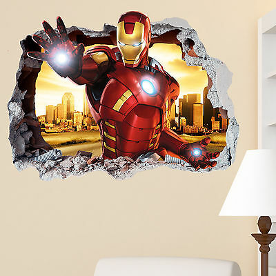 Iron Man Smashed wall Crack Kids Boy Girls Bedroom Vinly Decal Sticker Gift xmas
