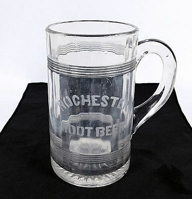 """ROCHESTER   ROOT BEER ""  VINTAGE   HEAVY  GLASS   MUG   ( 6  1/4"" tall )"