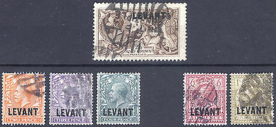 British Levant 1921 2d-2s6d (ex5d) SG L18-L24 Scott 48-54 VFU Cat £162($196)