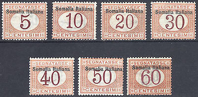Somalia 1909 5c-60c Buff & Mag Post Due Scott J12-J18 SG D28-D34 LMM/MLH Cat$276