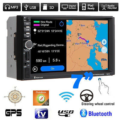 "2 DIN 7"" HD Car MP3 MP5 Player GPS Navi Bluetooth Touchscreen Radio USB SD FM TV"