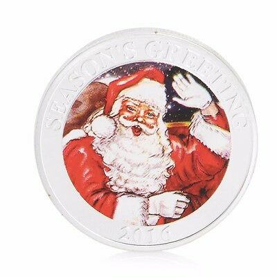 Silver Plated 2016 Merry Christmas Commemorative Coin Santa Moon Deer Collection