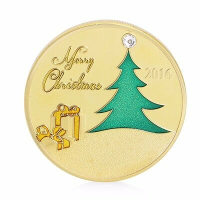 Gold Plated 2016 Commemorative Coin Merry Christmas Tree Deer Collectible Gift