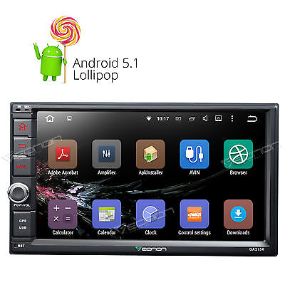 """US GA2154 Double Din 7"""" Head Unit Android 5.1 OS Car Stereo 1024x600 GPS Touch A"""