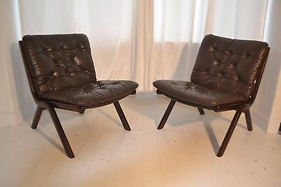 Stunning Pair Vintage Danish Teak & Leather Lounge Arm Chairs