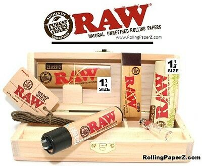 Raw Rolling Papers Combo Box+1 1/4 Papers+Tips+Lighter+Glass Tip+Hemp Wick