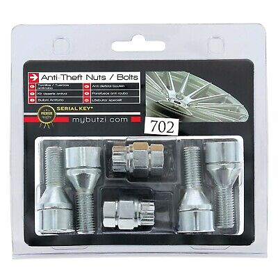 Butzi Chrome Plated Anti Theft Locking Wheel Bolts & 2 Keys for Mini CooperS >06
