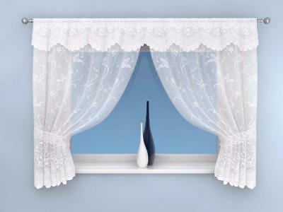 White Enchanted Butterfly/Floral Slot Top Net Curtain Voile Panel Window Set