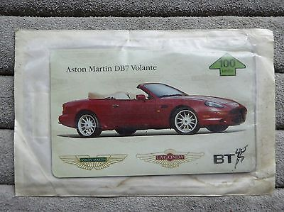 BT Phonecard 100 units, in sealed pack. Aston Martin DB7 Volante.