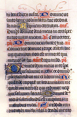 MEDIEVAL ILLUMINATED MANUSCRIPT BOOK OF HOURS LEAF c.1450 PSALM &, GOLD INITIALS