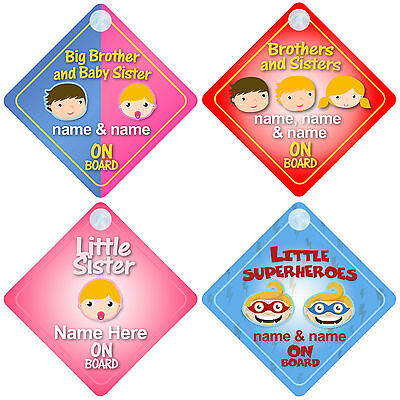 Brother & Sister on Board Car Signs Child/Baby - Choice of 30 Different Designs