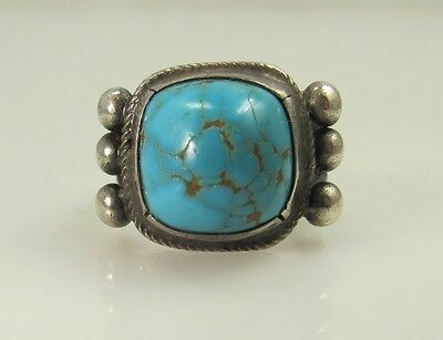 Nice Early Coin Silver Turquoise Split Shank Ring Navajo