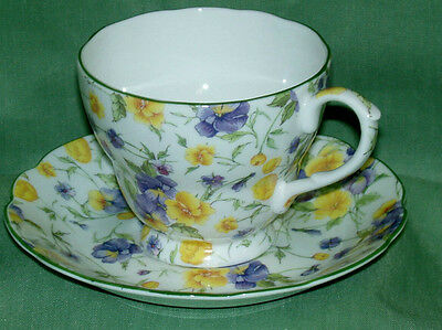 English Bone China~EMILY CHINTZ~Teacup & Saucer ~Made in England~New