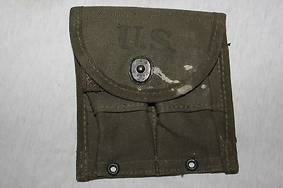 US Military Issue USGI WW2 .30 M1 CARBINE Canvas POUCH OD Green Dated 1945