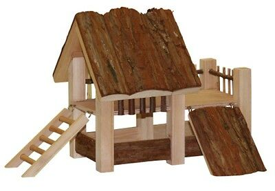 1 x Hamster Natural Wooden Play House Bridge Ladder Toy Nest Bed