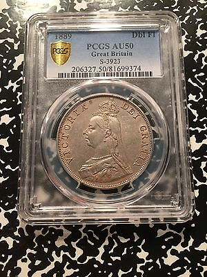 1889 Great Britain Double Florin PCGS AU50 Lot#G861 Large Silver Coin!