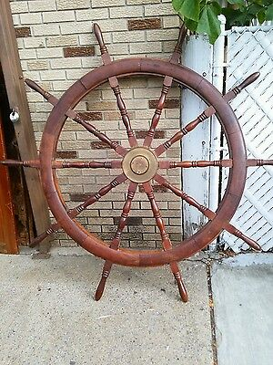 Antique boat yacht maritime ship wheel  nautical decor collectible 72""