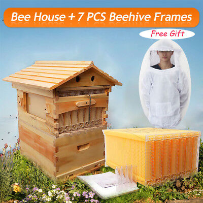 2016 7 PCS Auto Flow Honey Beekeeping Frames + Beehive Wooden House Box