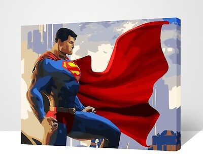 """Wood Framed DIY Paint By Number 16""""*20"""" kit Superman On Canvas"""