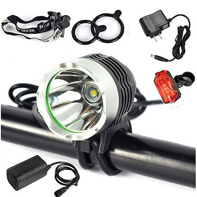 CREE XML T6 LED 5000Lm Cycle Bike Headlight Headlamp Rechargeable & Rear Light