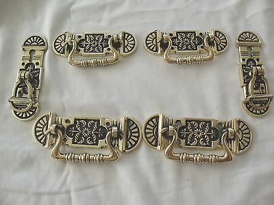 Set of 6 antique reclaim salvaged arts & crafts brass  door drawer pull handles