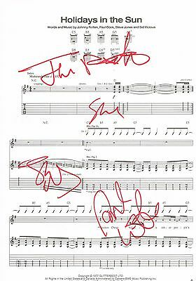 Sex Pistols Fully Hand Signed Autographed Holidays Sheet Music - Rotten Punk