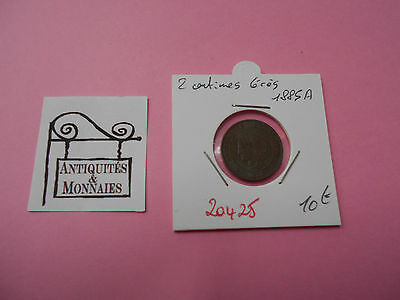 2 Centimes Ceres 1885 A - Old French Coin - Ref20425