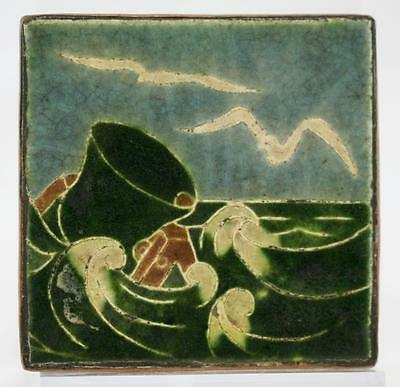 "Grueby Faience 4"" Tile W/seagulls/buoy Seascape Cased In A Copper/bronze Jacket"