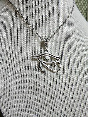 """HIPPIE HIP HOP Jewelry SILVER PLATE """"EYE OF HORUS"""" PENDANT NECKLACE GOTH EGYPT"""