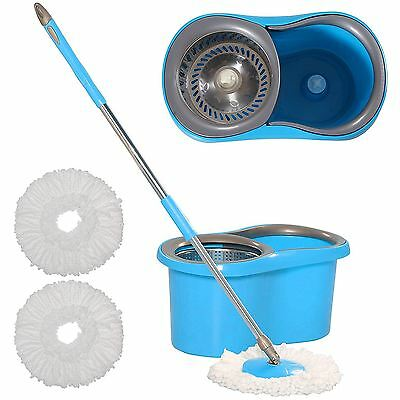 360° Floor Magic Spin 15 Litre Mop Bucket Stainless Steel Spinner and Microfiber