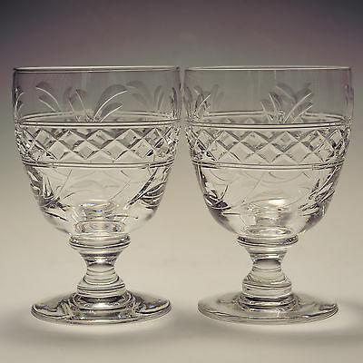 Stuart Crystal Imperial Pair 10 oz Wine Goblets / Glass Not Signed