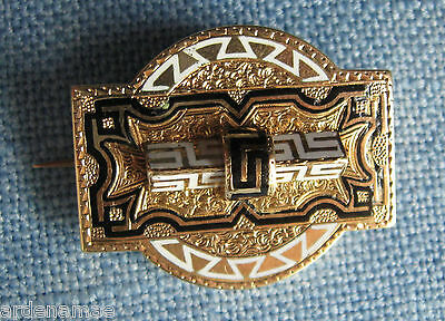 Vintage Gold Pin or Pendant .. signed .. embossed pattern