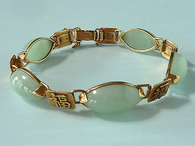 Bracelet W/ 14K Gold & 5 Large Light Green Jade Stones, From Ming's Collection