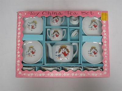 Vintage Made In Japan Porcelain Childs Tea Set With Girl Watering Flowers ~ Mib