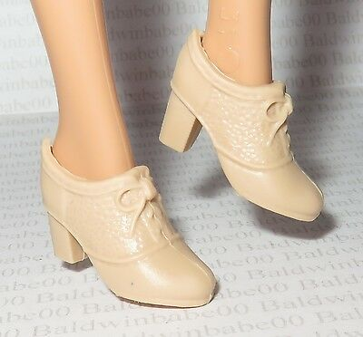* Shoes ~ Curvy Mattel Barbie Doll Fashionista Cream Faux Lace Loafer High Heels