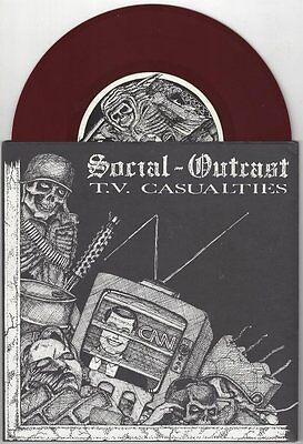 "Social Outcast ""TV Casualties"" 7"" OOP Michigan Hardcore Punk"