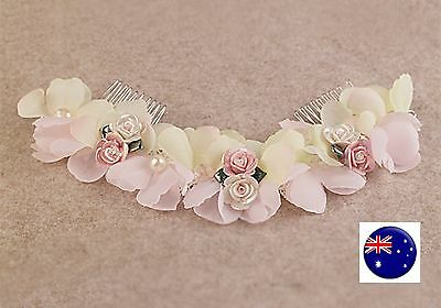 Women Wedding Pink beige Flower Bride Race Dance Hair Comb head piece headband