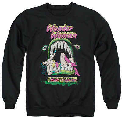 DC Comics Retro Wonder Woman Jaws Cover Vintage Style Adult Crewneck Sweatshirt