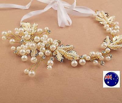 Women Party dance gold color Pearl leaf Wedding Bride Hair Headband Headpiece