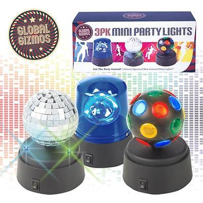 Global Gizmos Battery Operated Mini Disco Party Fun Lights, Pack of 3
