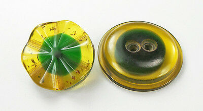 Vintage Bakelite Buttons Fluted Stardust Cookie Green & Applejuice Dome Sew-thru