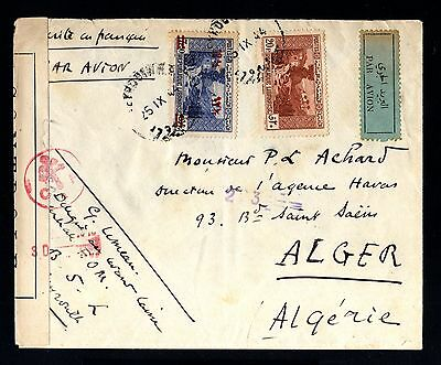 13573-LEBANON-AIRMAIL CENSOR COVER BEYROUTH to ALGEr (algeriA)1944.WWII.Liban