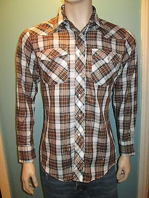 Vintage Saturdays in California Men's Brown Blue Plaid Pearl Snap Shirt Medium
