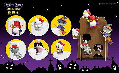 Toy Friend Sanrio Hello Kitty Funny Show Halloween Cup edge Completed Set 6pcs