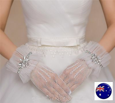 Woman Lady Party Opera Bridal Fancy Costume Wedding SHORT White Lace Gloves