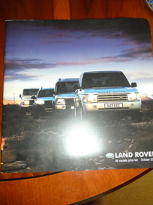 Land Rover All Models price list brochure Oct 2002